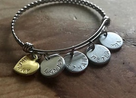 Personalized Charm bangle bracelet