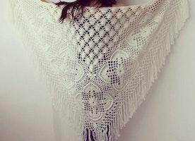 Hand crochet shawl scarf wrap gift crocheted shrug capelet black russian produce