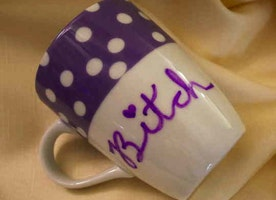 Bitch Purple Polka Dot Friend Gift Present LGBTQ Sassy Cussing Profanities Vintage Modified Mug Gifts Under 30
