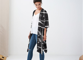 Black and white Kimono top
