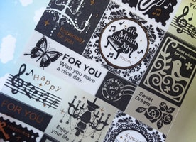 music dream sticker, classic piano black singing bird seal label melody gothic black vintage crystal lighting icon label sticker