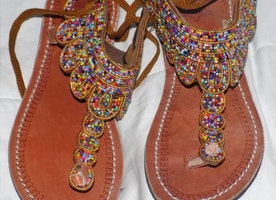 BROWN African Masai Beaded Handmade Sandals for Ladies (Size 41)