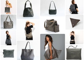 Can you guess which color I love? It's the color of the sky when we are blessed to be snug indoors under a blanket - who doesn't like gray? Here is a collage of ALL Mayko gray bags and accessories!