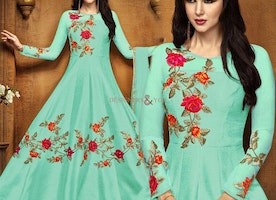 Fancy Green Long Gown Style Anarkali Suit For Sangeet Party