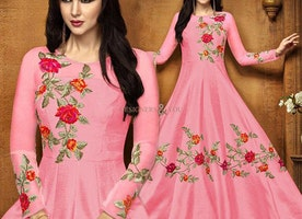 Modern Tickle Pink Anarkali Suit With Floral Work For Reception