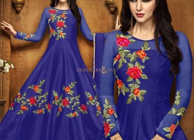 Stylish Blue Party Wear Art Silk Anarkali Suit With Full Sleeves