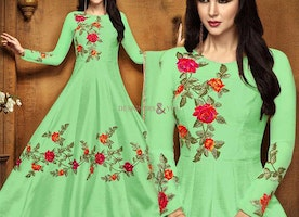 Trendy Green Anarkali In Art Silk Fabric For Mehendi Party