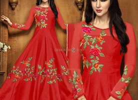 Lovely Carnelian Red Anarkali Gown Dress For Engagement Ceremony