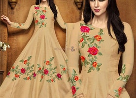 Ever Stylish Beige Floor Length Floral Anarkali For Gathering