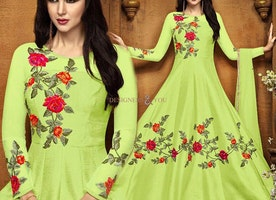 Fine Green Long Anarkali With Diamond Work For Mehendi Party