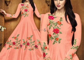 Classy Peach Anarkali With Embroidery Work For Ceremonial Wear