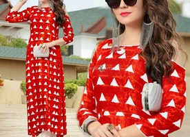Vibrant Red Rayon Kurta With Geometrical Print For Cigarette Pant