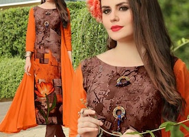 Orange-Brown Rayon Kurta With Modern Floral Print For Denim Capris