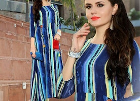 Stylish Long Aline Blue Rayon Kurta With Stripe Print For Trouser