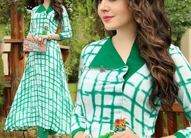 Green-Off-White Frock Style Printed Kurta For High Waist Pant