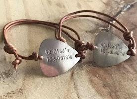 Custom coordinates guitar pick bracelet