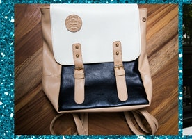 Rich Leather Colorblock Backpack