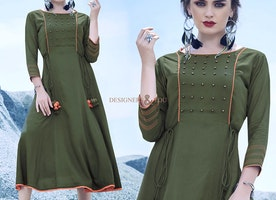 Graced Olive Green Rayon Tailored Aline Kurti For Stylish Female