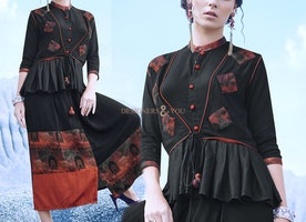 Gilded Onyx Black Ready-Made Jacket Style Designer Kurti For Skirt