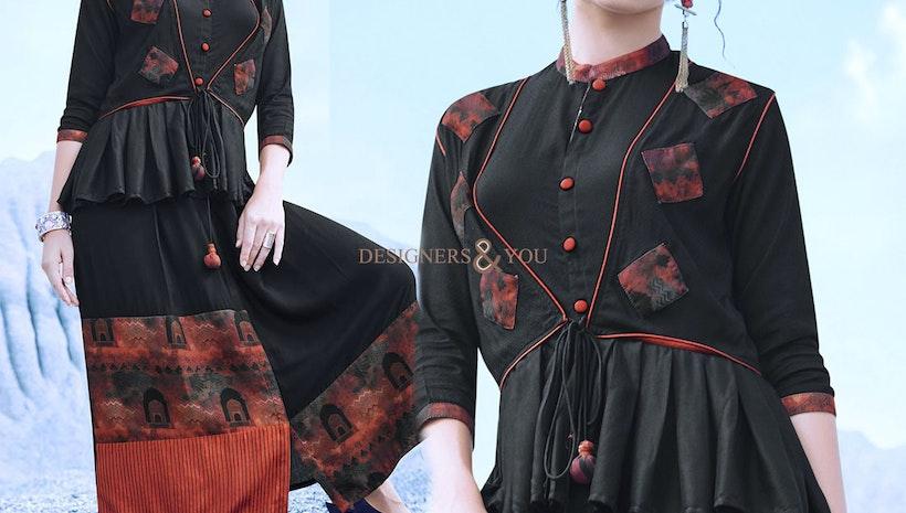 Gilded Onyx Black Ready-Made Jacket Style Designer Kurti For Skirt