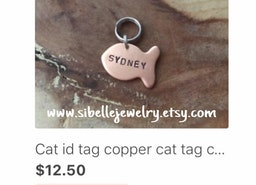 ETSY BESTSELLER RIBBON! cat fish ID tag