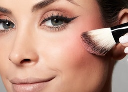 An Eyeshadow And Blush Palette lend a rosy touch to the eyes and cheeks