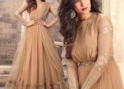 Pretty Light Beige Net Floor Length Gown Dress With Empire Waist