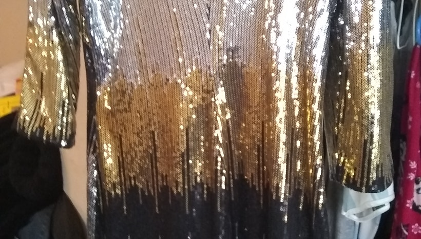 Gold black silver dress or blouse
