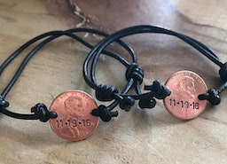 Custom Penny adjustable leather cord bracelet