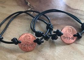 Custom Penny adjustable leather cord bracelet