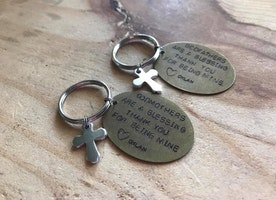 Personalized godparent keychains