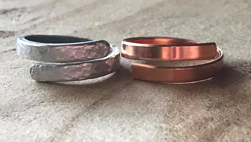 Custom silver and copper skinny rings