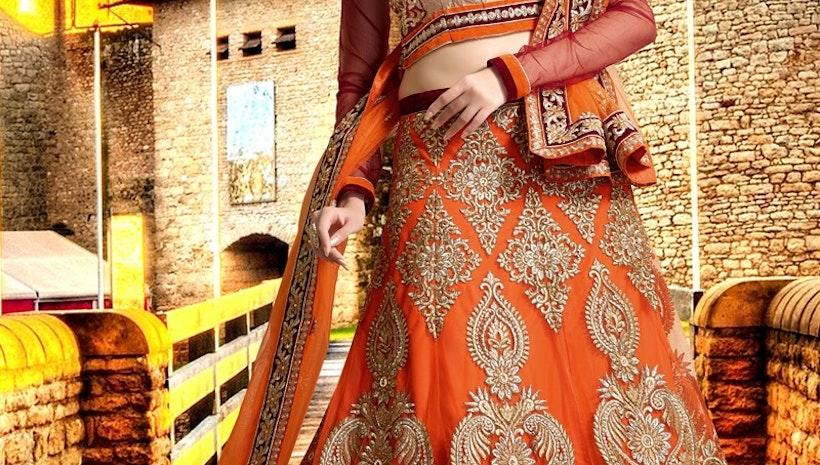 Fascinating Booti Work Bridal Lehenga Choli