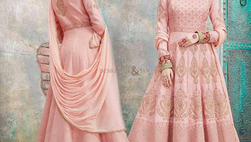 Beaming Peach Embroidered A-Line Designer Anarkali Gown Dress