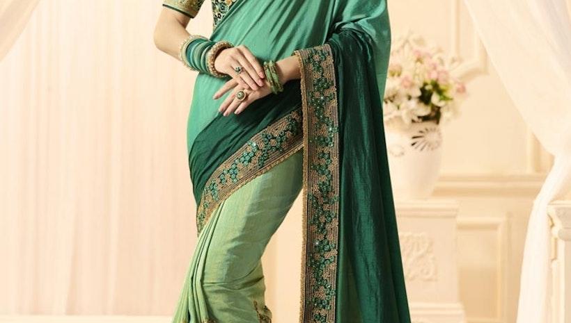 Green And Sea Green Half N Half Trendy Saree