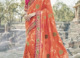 Banarasi Silk Beads Work Contemporary Saree