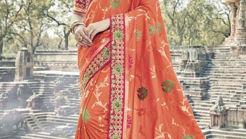 Banarasi Silk Beads Work Contemporary Saree