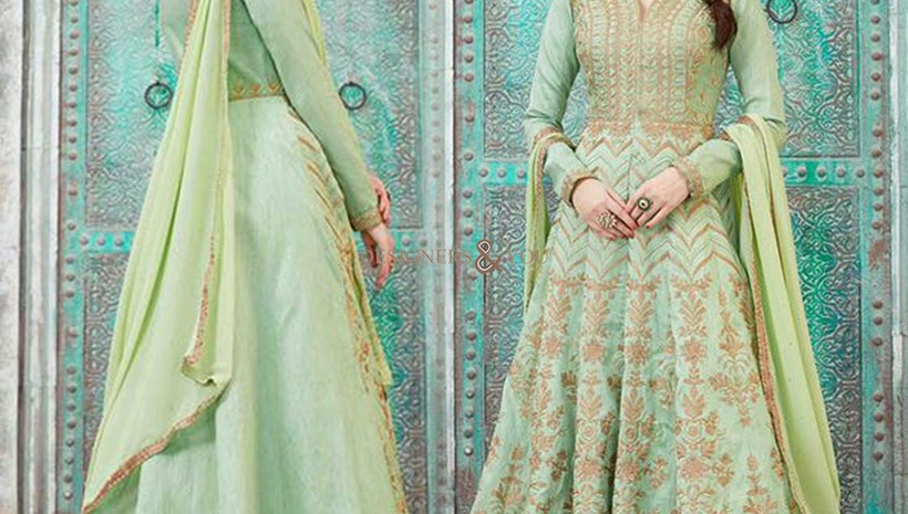Bewitching Light Green Ankle Length Long Worked Anarkali Suit