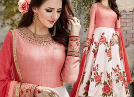 Blameless Peach-Off White Party Wear Floor Touch Anarkali Suit