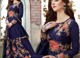 Bewilder Midnight Blue Contemporary Worked Floral Anarkali Suit