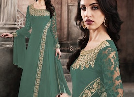 Bejeweled Green Worked Semi Stitched Long Designer Georgette Dress