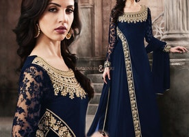 Augmented Oxford Blue Thread Worked Long Gown Style Georgette Suit
