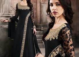 Artistic Smoky Black Angrakha Style Embroidered Designer Dress