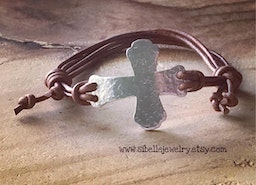 Custom rustic sideways cross leather adjustable bracelet