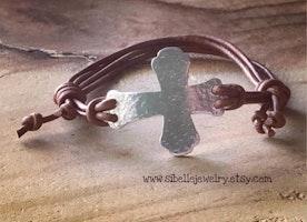 Custom rustic sideways cross leather adjustable bracelet