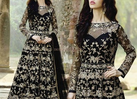 Unexpected Looking Black Worked Net Anarkali With Sheer Back Neck