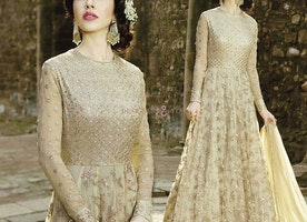 Unique Cream Worked Floor Touch Anarkali For Every Type Body Shape