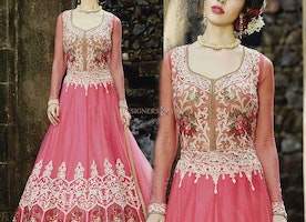 Unmarred Radical Pink Floral Net Kalidar Party Wear Anarkali Set