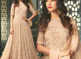 Prominent Cream Sheer Neckline Long Net Anarkali Gown Dress