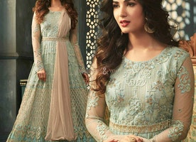 Ravishing Light Sea Green Border Worked A-Line Anarkali Churidar